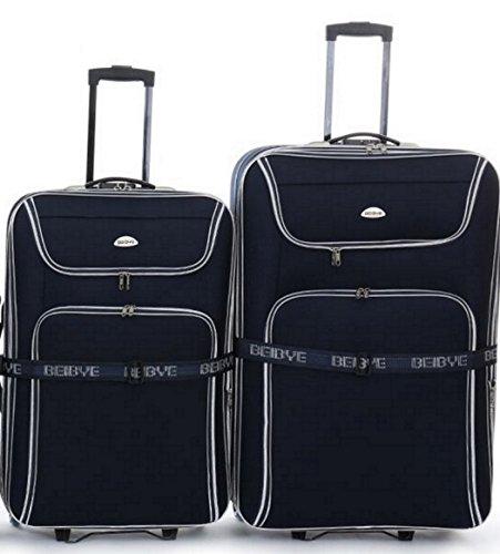 BEI 2 Trolleys - Koffer - 86cm + 76cm XXL-Volumen, Dehnfalte, Koffergurt. - Schwarz