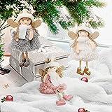 Wikay Decoraciones navideñas, 3 Piezas muñecos de Peluche navideños, Bonito ángel navideño, Adornos navideños, muñeco de Peluche navideño para casa de Fiesta de Navidad (ángel con alas)