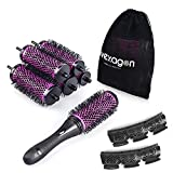 Hivexagon Round Hair Brush Set with Detachable Barrels Styling Tool, 6 Barrels 1 Handle 6 Clips, Small Medium Large