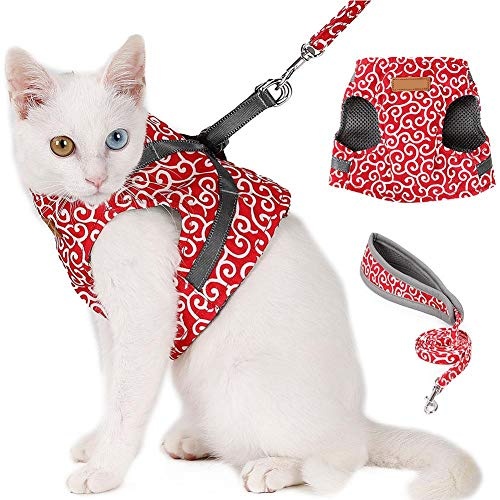 Arnés para Gatos con Correa Set Escape a Prueba de arneses para Gatos Chaleco Acolchado Correa Ajustable para el Pecho del Gato con un Fuerte Anillo en D Ideal para Caminar(S-Rojo)
