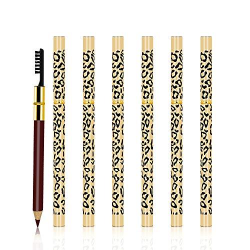 Freeorr 6 Stück Leopard Augenbrauenstifte, Wasserdichtes und Langlebiges Make-up Augenbrauenstift, Double-End-Design mit Pinsel Natürlich aussehendes automatisches Augenbrauen Make-up- Rotbraun