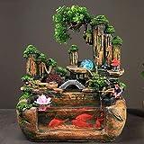 UOEIDOSB Fuentes de Mesa Fish Tank Cubierta Fuente Cascada Regalo de la decoración, Resina, 40x25x40cm