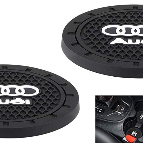 "AOOOOP Car Interior Accessories for Audi Cup Holder Insert Coaster - Silicone Anti Slip Cup Mat for Audi A3 S3 RS3 A4 S4 A5 S5 RS5 A6 S6 A7 S7 RS7 A8 Q3 Q5 SQ5 Q7 Q8 (Set of 2, 2.75"" Diameter)"