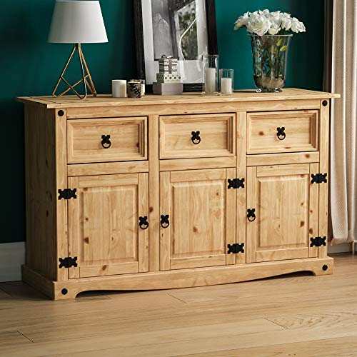 Vida Designs® dressoir Corona met 3 deuren en 3 laden, massief grenenhout, gewaxt, Mexicaanse stijl