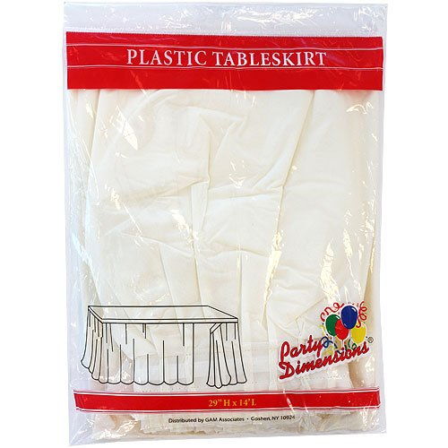 Plastic Table Skirts - 13 Colors- Pack of 2 Select Color: Ivory