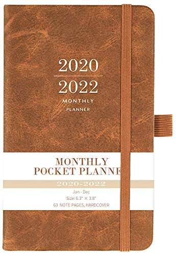 "2020-2022 Monthly Pocket Planner - Three Year Pocket Monthly Calendar, 36 - Month Planner with Pen Hold, 6.3"" � 3.8"", Jan 2020 - Dec 2022, Elastic Closure, Page Divider, Inner Pocket, Thick Paper"