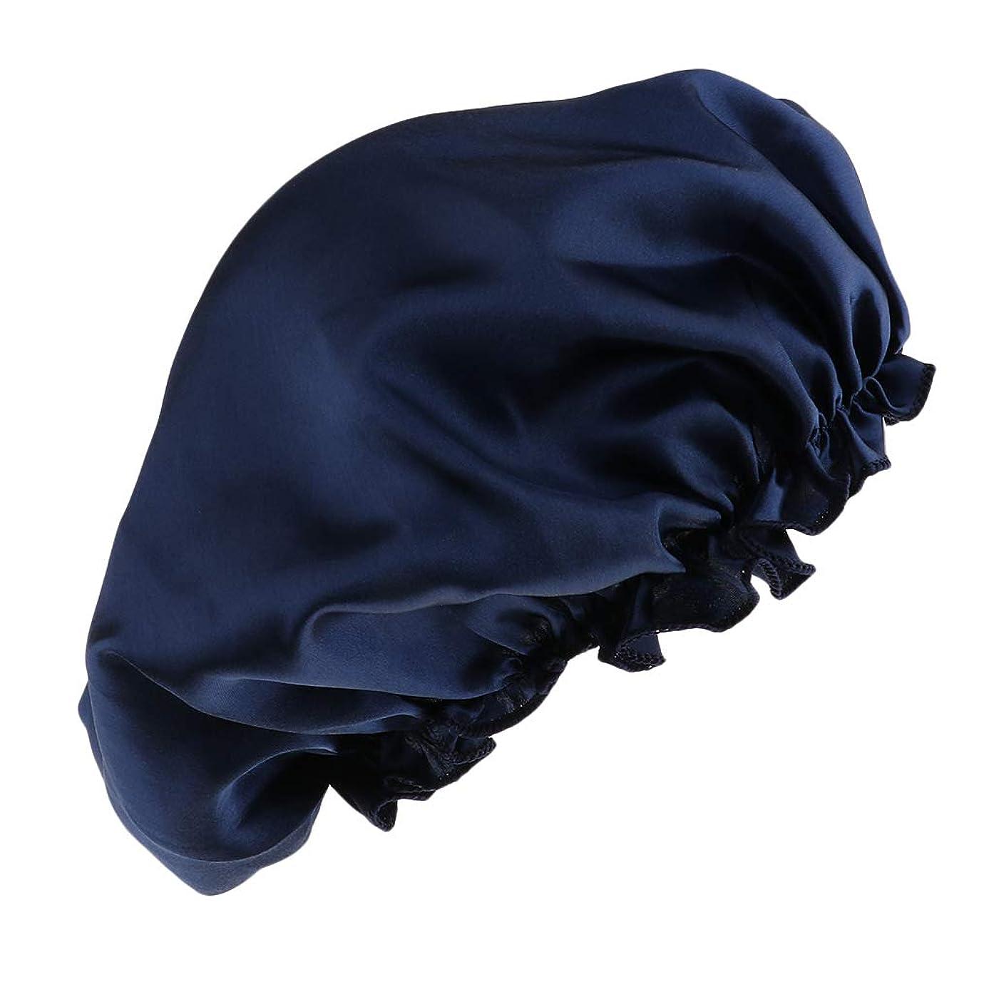 氷スコットランド人形容詞FLAMEER シャワーキャップ シルクサテンキャップ シルクサテン帽子 美容ヘッドカバー 浴用帽子 全8色 - 紺