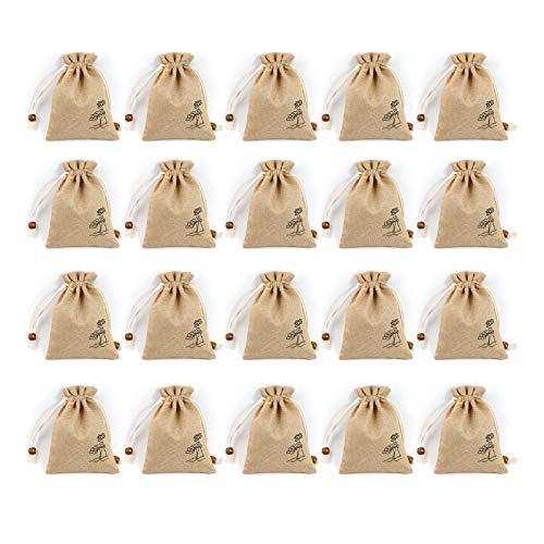XGzhsa Bolsas de cordón de Lino, Bolsas de Regalo pequeñas, 20 Bolsas de cordón de Lino Estampadas Bolsas de cordón vacías para Hierbas, Especias, jabón, Joyas y Regalos (Beige Gris, 12 x 15 cm)
