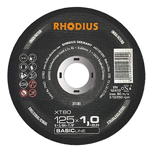 RHODIUS extra dünne INOX Trennscheiben Metall XT80 Ø 125 x 1,0 mm Metalltrennscheibe 50 Stück