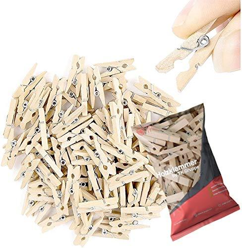 TK Gruppe Timo Klingler 100x mini clips - taille 25 mm mini clips pinces à linge clips en bois en bois véritable (100x)