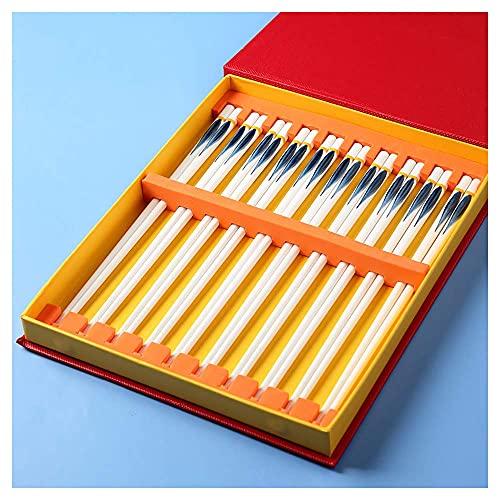 Conjunto de regalos de los palillos del hueso de alto grado China, porcelana reutilizable que no resbalan los palillos chinos con un conjunto de 10 lavavajillas Caja fuerte asiática vajilla - D-25cm k