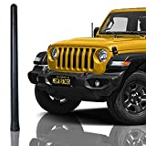 Mega Racer Bending SUV Antenna - 7.0 Inch AM/FM Compatible, Universal Fit for SUV, Rubber Antenna with Anti-Theft Design and Car Wash Safe - Black