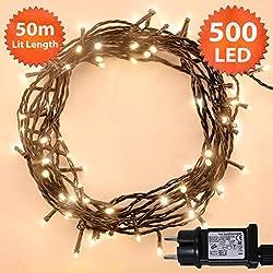 Lichterkette Weihnachtsbeleuchtung außen 300 LED Warme weiße innen led lichterkette weihnachtsbaum Gedächtnisfunktion, Netzbetriebene 30m Lit-Länge- GRUNES KABEL