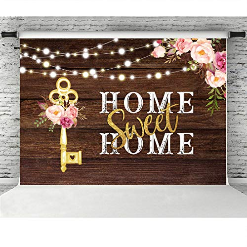 Rustic Housewarming Photography Backdrops Pink Floral Sweet Home Key Shining Lights Background for New House Party Decorations Wooden Floor Wedding Photo Booth Props Cake Table Supplies 7x5ft