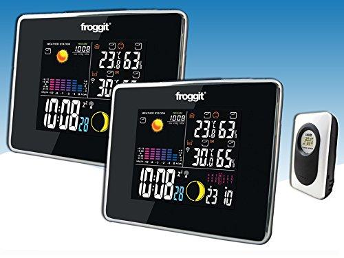 froggit Funk Farb Wetterstation WS50 Twin (2 Displays) inkl. 1 Funk Thermo-Hygrometer Außensensor, Wettervorhersage, Funkuhr, Temperatur, Luftfeuchte
