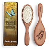 Natural Wood Bristle Hair Brush, Gentle Massage, Pear Wood Handle, Made in Germany, Model PWW, For All Hair Types, Rounded Wood Pins, Anti-Static, by Desert Breeze Distributing