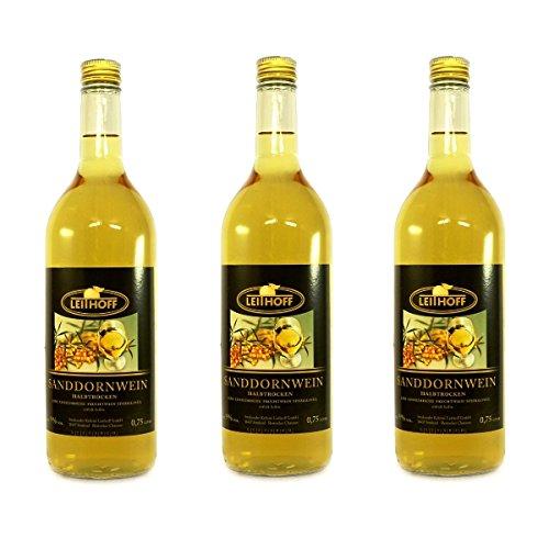 3 Flaschen Sanddornwein á 0,75 Liter 9% vol. halbtrocken Sanddorn Wein