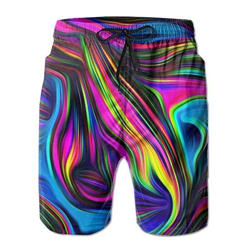 LarissaHi Farbe Kunst Blumendruck Männer Casual Shorts Badehose Beachwear Badeanzüge Golf Shorts L