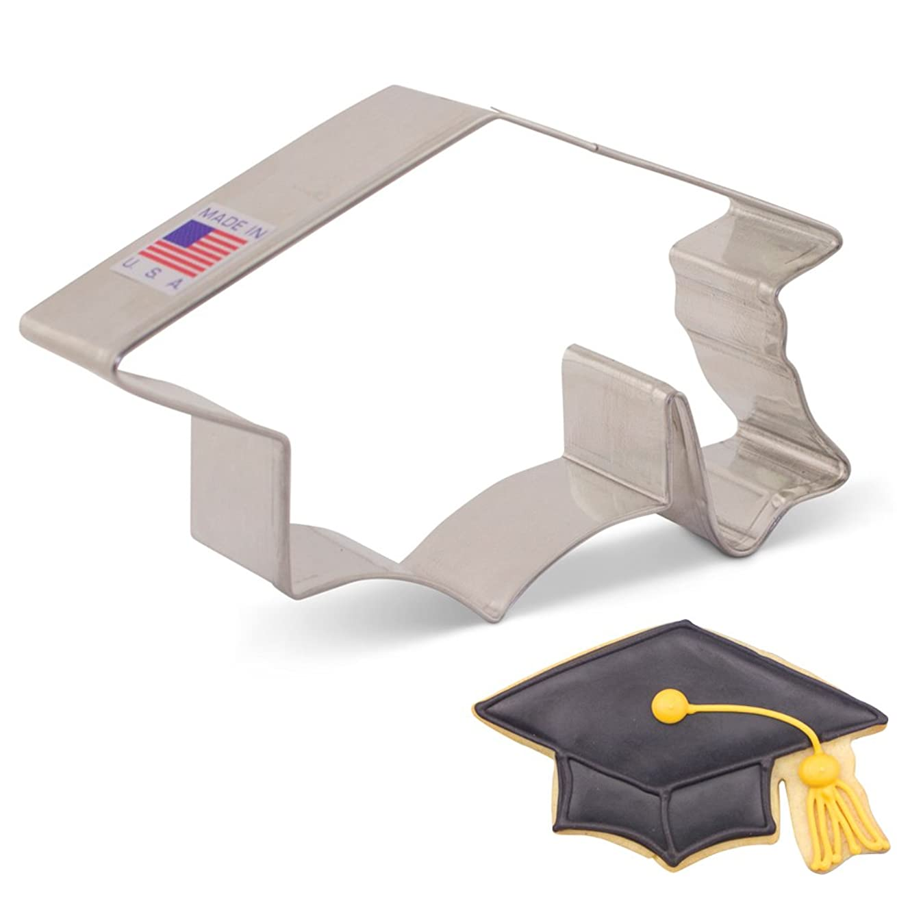 Graduation Cap/Hat/Mortar Board Cookie Cutter - 4.5 Inch - Ann Clark - US Tin Plated Steel
