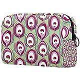 Bolsa de brochas de maquillaje personalizable, bolsa de aseo portátil para mujer, bolsa de cosméticos, organizador de viaje, estampado de pavo real fucsia