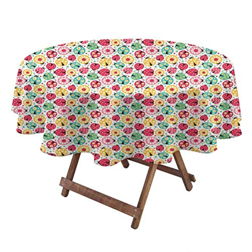 Ladybugs Machine washableStretch Tablecloth Abstract Bug Pattern with Many Different Designs Hearts Polka Dots Daisies Nature Suitable for Party Holiday Wedding tablecloths 50 Inch Round Multicolor
