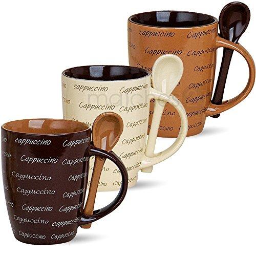 matches21 Cappuccino 3 Stück Cappucchino Tassen Becher Kaffeetassen Kaffeebecher 10 cm hoch / 250 ml Keramik mit Löffel