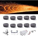 Arco Iris de Acero de Lana Fuego de Fuegos Artificiales Flame Flame Fire con Kit de Herramientas Truco Simulación Fiesta de año Nuevo Sparks Smoky Sparks Firework Firework para Decoraciones Gris