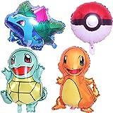 Miotlsy Globo Pokémon, Globos de fiesta de Pokemon para niños, globos de papel de aluminio de Pokemon Pikachu, Globo Suministros de Fiesta para Niños Decoraciones Suministros