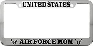 Speedy Pros Us Air Force Mom Military Zinc Metal License Plate Frame Car Auto Tag Holder - Chrome 2 Holes
