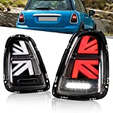 Tluuze Full LED Tail Lights Assembly Compatible with Mini Cooper & Coopers Hatchback R55 R56 R57 R58 R59 2007-2013 Union Jack Tail Light Lamp,w/Sequential Turn Signal Light (Clear Lens)