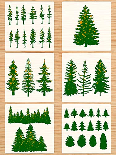 CINPIUK 6PCS Pine Tree Stencils for Painting on Wood Evergreen Tree Templates DIY Crafts Forest Woodland Christmas Winter, 12 Inch
