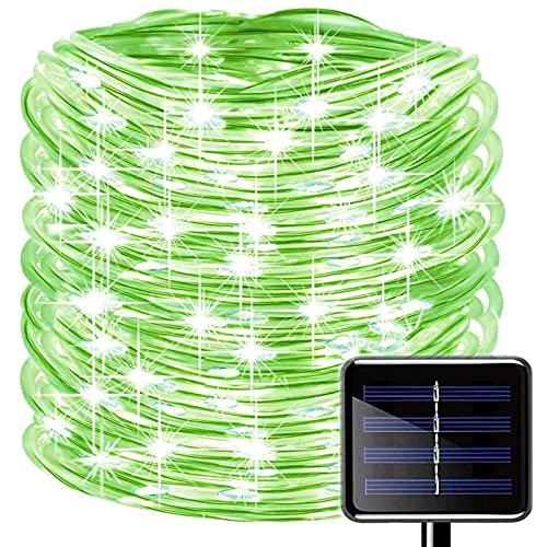 Oluote Luces de Cuerda Solar, Impermeable al Aire Libre 50 LED/5 M 2 Modos, Luces de hadas, Tubo de Luz de PVC para La Fiesta de Boda del Arbol de la Cerca del Jardín (Verde, 5M)
