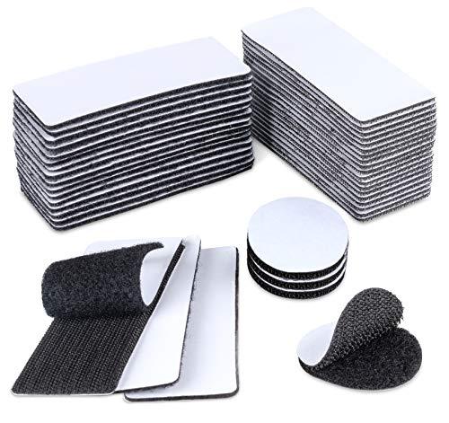 20 pares de bandas autoadhesivas macho y hembra, 4 x 10 cm por pieza, autoadhesivas, velcro de doble cara, 4 pares de 4 mm, adhesivo redondo para marcos de fotos de instalación.