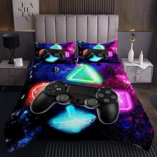 Spiele Tagesdecke 170x210cm Modernes Gamer Video Gamepad Steppdecke für Kinder Jugend Mann Gaming Bettüberwurf Galaxis Geometrisch Drucken Wohndecke 2St