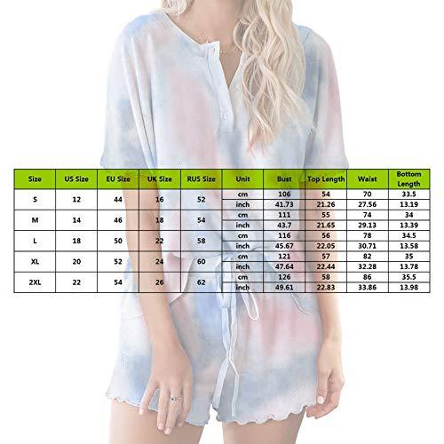 MoneRffi Women's Pyjama Sets 2 Pieces Sleepwear Tie-Dye Short Sleeve V-neck Tops and Shorts for Spring Summer Drawstring Jogger Tracksuit Set(B#3,XXL)