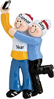 Selfie Couple Personalized Ornament - Unique Christmas Tree Ornament - Special Keepsake - Custom Decorations for Significant Others, Loved Ones, and Special Couples - Personalization Included