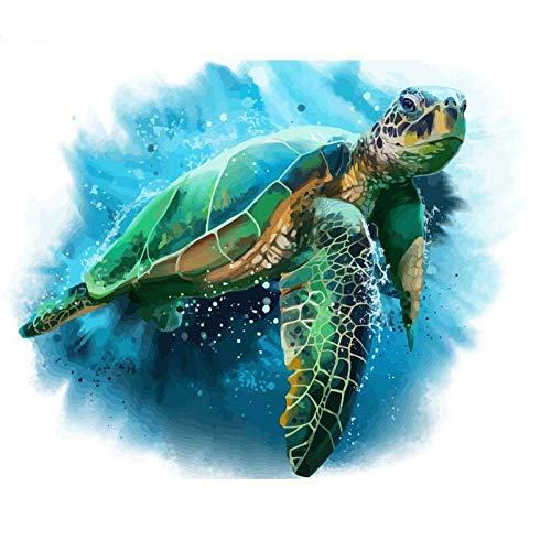 Paint By Numbers For Adults And Kids,Diy Acrylic Painting Kit For Beginner,Blue Sea Green Turtle Animal Painting On Canvas Paint By Numbers Painting For Home Wall Living Room Bedroom Decoration-16X2