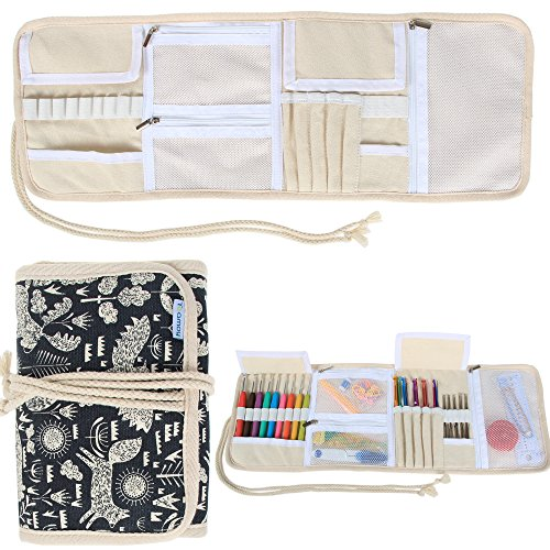 Teamoy Crochet Hook Case, Roll Bag Holder Organizer for Various Crochet Needles and Knitting Accessories, Compact and All-in-one, Animal World