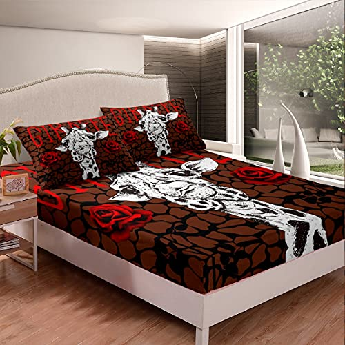 Erosebridal Giraffe Bedding Sets Safari Animals Fitted Sheet Red Rose Fitted Bed Sheets for Kids Boys Girls Rose Floral Tie Dye Marble Bedding Decor Set with 2 Pillow Cases Bedroom Decor Queen