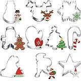 10pcs formine per Biscotti Natalizi, formine per Biscotti per Invernali, Renna, Fiocco di Neve, Albero di Natale, omino di marzapane, Babbo Natale, Cappello, stampella formine per Biscotti Natalizie