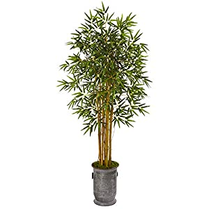 Nearly Natural 68in. Bamboo Artificial Vintage Metal Planter Silk Trees, Green