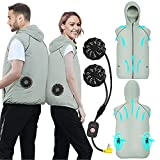 Air Conditioned Clothes Cooling Vest 3-Speed Adjustable Fan Ac Jacket Cooling Sun Protection Cool vest for Hot Weather (Grey, X-Large)