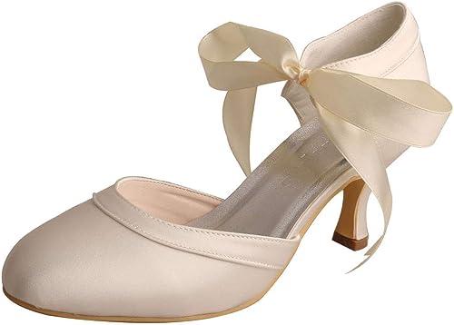 SERAPH WDF7006 Damen Hochzeit Braut Pumps Satin Niedriger Absatz Mary Jane Prom Ribbon Party Schuhe