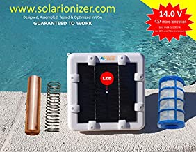 Made in USA Solar Pool/Spa Ionizer Water Purifier (14.0Volt -4.5X More Ionization) with LED Indicator - Heavy Duty Copper-Silver Anode Reduces Chlorine use by 80% & Saves Over 1000/yr