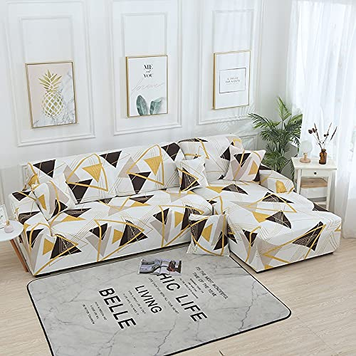 PPOS Funda de sofá en Forma de L Fundas elásticas Fundas de sofá elásticas para Sala de Estar Funda de sofá seccional Chaise Longue D14 4 Asientos 235-300cm-1pc