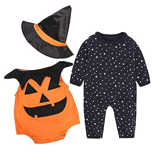 TMOYJPX Halloween Disfraz Bebe Fotos 0-24 meses - 3pcs Ropa Recién Nacido Niño Niña Calabaza Mono + Sombrero de Bruja, Conjunto Bebes Otoño Invierno (Calabaza~Naranja, 12-18 meses)