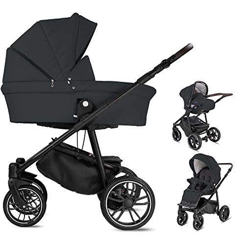 Minigo PCS_BEAT-DE-AIR-BTN-10 Beat, 3 in 1 Kombi Kinderwagen Dark Grey Luftreifen, grau