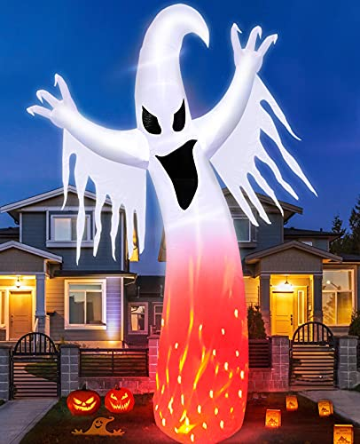 TURNMEON 12 Foot Giant Inflatables Ghosts Halloween Decorations Red & White Rotating Lights with Flame Effect 6 Stakes 2 Tethers 2 Weight Bags Blow Up Halloween Decorations Outdoor Yard Lawn Garden