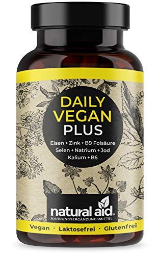 Daily Vegan Plus – ijzer + zink + B9 foliumzuur + selen + natrium+ jodium + kalium+ B6 – capsules hooggedoseerd, 120 capsules (4 maanden voorraden), speciaal voor een vegante/vegetarische voeding, geproduceerd in Duitsland
