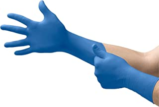 Microflex SG-375 Disposable Latex Gloves Medical/Exam Grade, Long Cuff, Thick Powder Free Glove in Natural Rubber for Cleaning, Sanitary or Mechanic Tasks, Blue, Size Large, Case of 500 Units